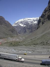 Bus through the Andes in Chile