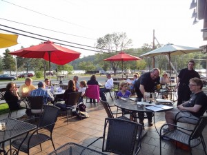 If the weather's warm enough, Nonna Fina's patio overlooking Lake Flower is a great spot to eat. Photo by Laura Byrne Paquet.