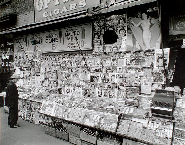 Feel like paper magazines are so 1930s? Read on. (Newsstand, 32nd Street and Third Avenue, Manhattan. Berenice Abbott,  photographer. November 19, 1935. Courtesy of the New York Public Library via Creative Commons. No known copyright restrictions.)