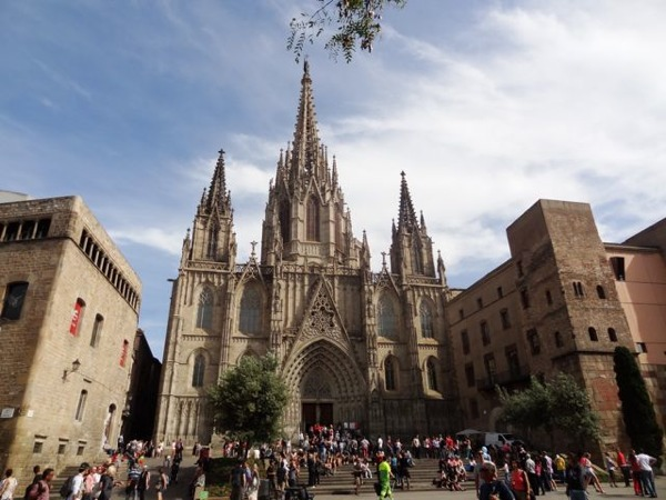 There are secrets to be found around Barcelona's cathedral. Photo copyright Laura Byrne Paquet.