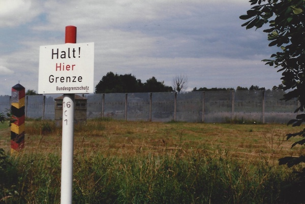 This sign marked the West German end of the divided road. I didn't have the nerve to use a zoom lens to capture a better shot of the soldiers just beyond the fence.