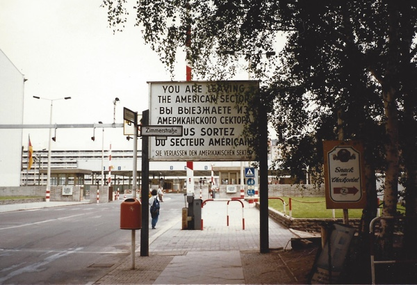 A checkpoint sign in East Berlin.